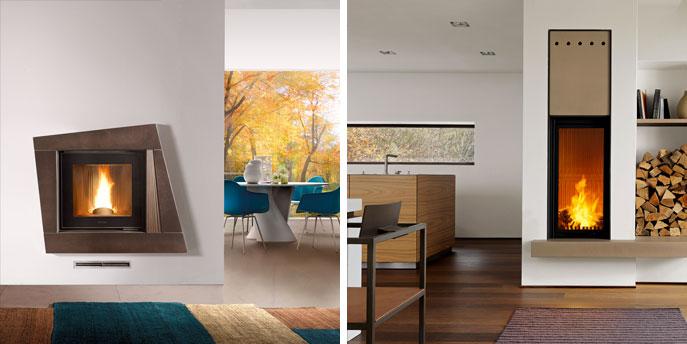 Camini moderni Piazzetta Rivestimento in Maiolica, a sinistra cornice in Maiolica color bruno rame, a destra modello Lancaster con rivestimento a sviluppo verticale colore Senape