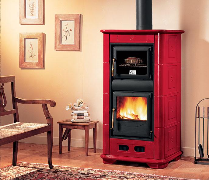 Stufa a legna Piazzetta mod. E900M color rosso