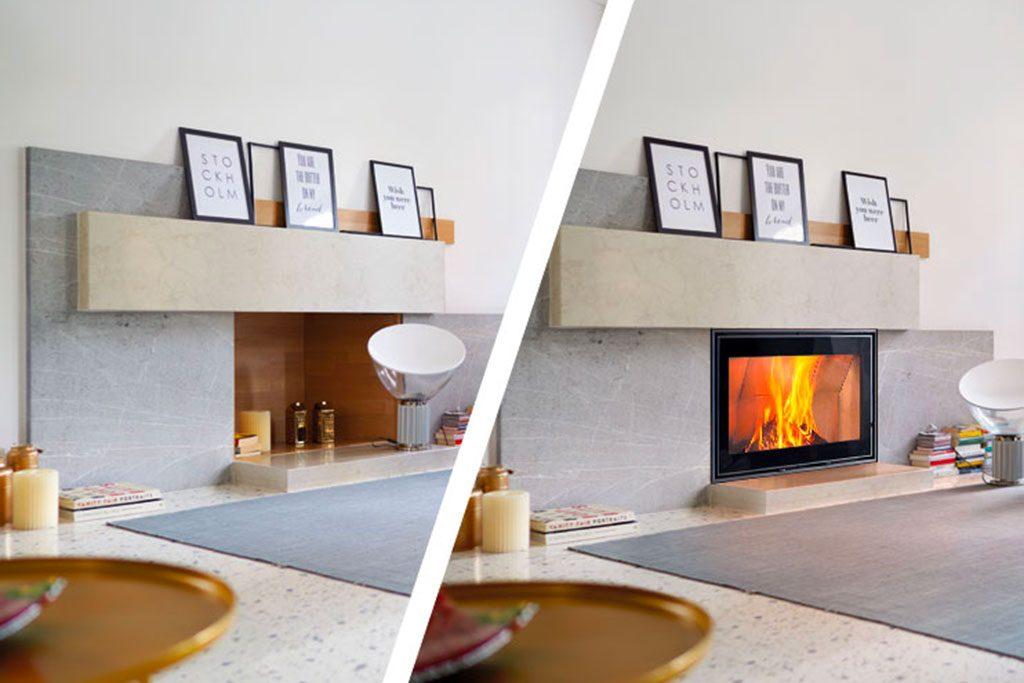 Mit den Holz- und Pelletkamineinsätzen von Piazzetta verwandeln Sie einen alten offenen Kamin ganz einfach in ein effizientes Heizsystem.