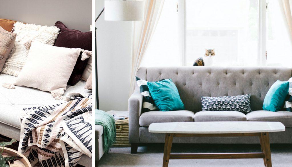 So erneuern Sie Ihre Wohnung mit Stoffen, ändern Sie die Textilien des Wohnzimmers